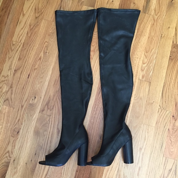 aad77e80535 NWOB 6.5 Steve Madden over the knee peep toe boots NWT